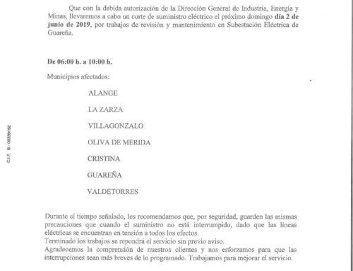 CORTE DE SUMINISTRO DE LUZ PARA EL DOMINGO