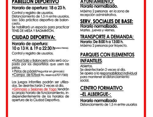 REAPERTURA DE ALGUNAS INSTALACIONES PÚBLICAS