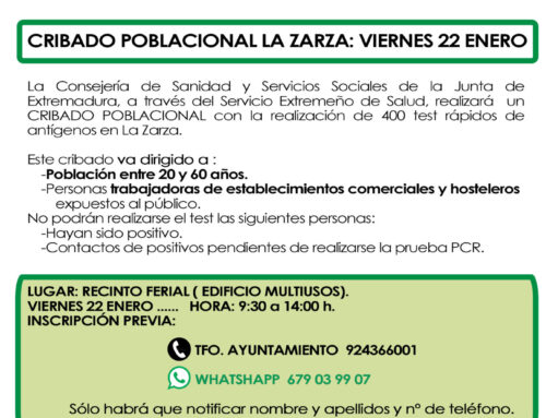 CRIBADO POBLACIONAL VIERNES 22 DE ENERO.