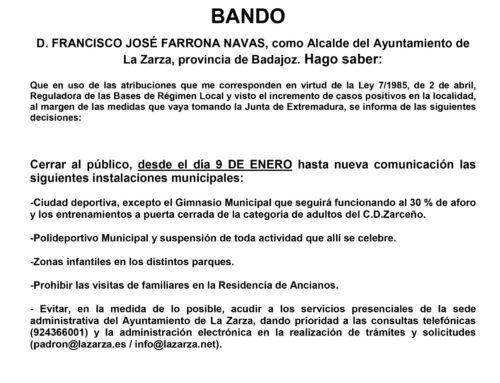 BANDO DE LA ALCALDÍA, MEDIDAS COVID