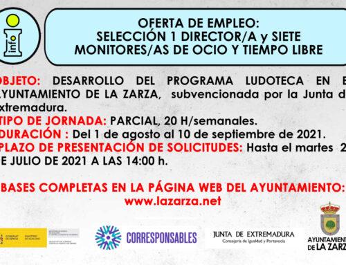 OFERTA DE EMPLEO: SELECCIÓN 1 DIRECTOR/A y 7 MONITORES/AS DE OCIO Y T. LIBRE