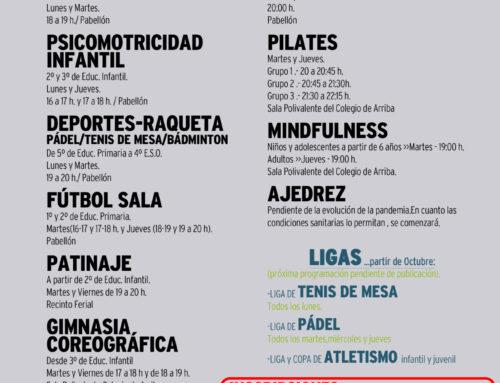 ABIERTO EL PLAZO DE INSCRIPCIONES DE LAS ESCUELAS MUNICIPALES DEPORTIVAS