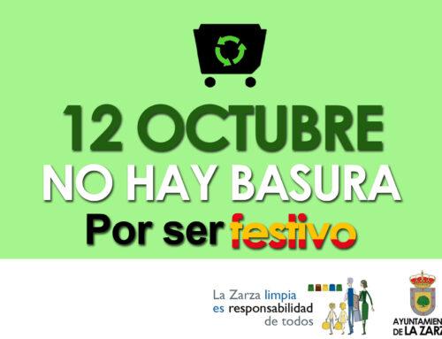 MARTES 12 DE OCTUBRE, NO HABRÁ SERVICIO DE RECOGIDA DE BASURAS